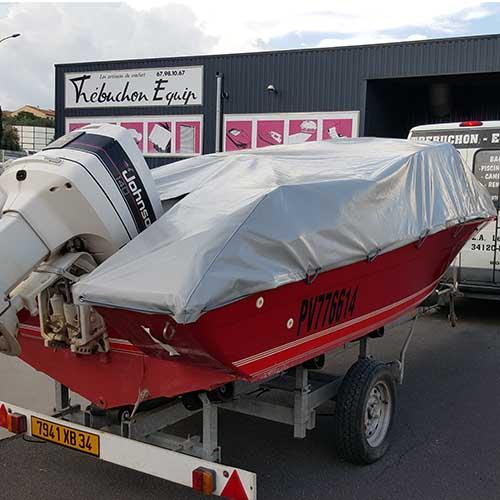couverture de bateau en PVC gris